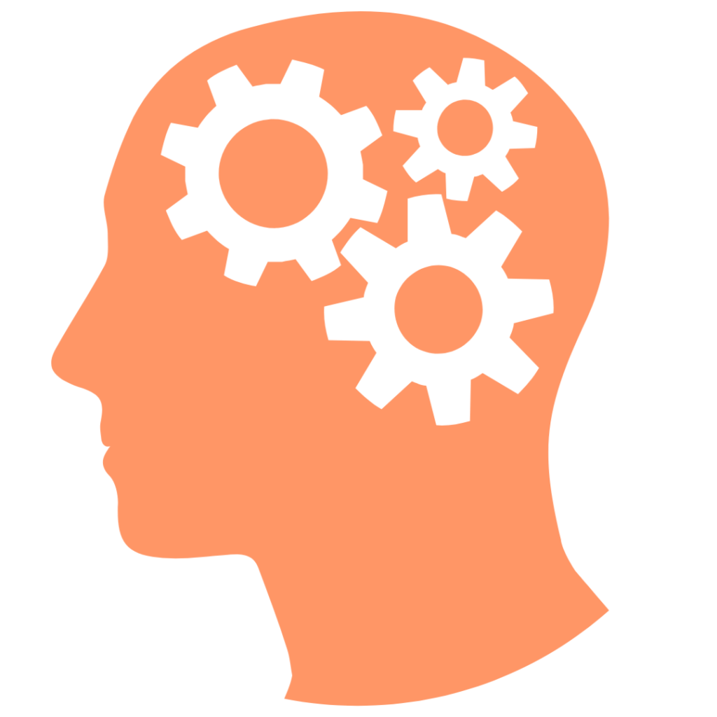 An image of gears in a person's head.